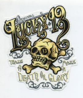 Lucky 13 Sticker Decal Ye Olde Skull Bones Tattoo Hot Rod Motorcycle