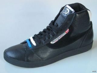 New Diesel Dragon Hi Top Black Leather Sneakers Athletic Shoes