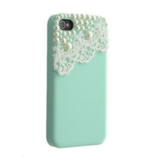 Green Cute Pearl Lace Ice Cream Hard Back Case Cover for iPhone 4 4S
