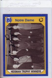 Johnny Lujack Signed Notre Dame Heisman Winners Card
