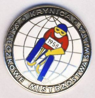 1958 World Luge Championships Pin Badge Sledge Krynica Poland