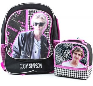 CODY SIMPSON School BACKPACK & Dual Insulated LUNCH Box Book Bag Tote