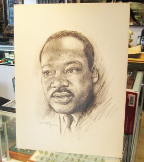 FRANCA ORIGINAL CHARCOAL DRAWING MARTIN LUTHER KING JR. SIGNED RARE