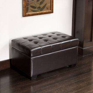 Luxurious Design Tufted Espresso Brown Leather Storage Ottoman Bench