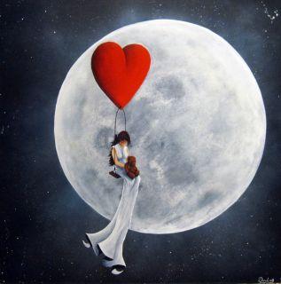 Original Pop surreal Art Surreal Acrylic Painting girl dream love