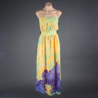 Yellow Leaves Floral Chiffon Tube Chiffon Maxi Dress M Size