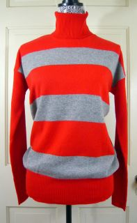 Crew Cashmere Rugby Stripe Turtleneck Sweater Red Gray s Retail $245