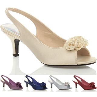 Womens Wedding Bridal Ladies Prom Shoes Low Heel Bridesmaid Evening