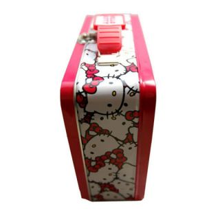 Hello Kitty Storage Tin Metal Tote Lunch Box Bag by Sanrio New