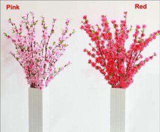 Cherry Plum Spring Peach Blossom Branch Silk Flower Tree