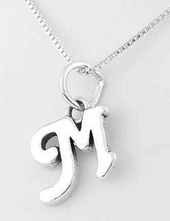 Silver Cursive Initial Letter M Pendant w Box Chain Set