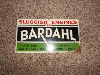 Vintage Bardahl Gas Oil Tin Metal Sign Decent Condition