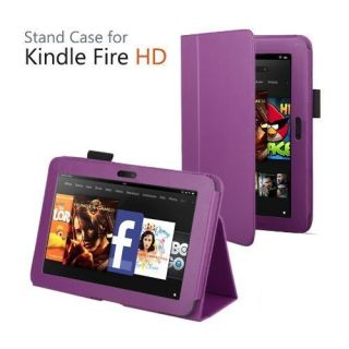 Leather Stand Case for  Kindle Fire HD 7 Tablet Purple