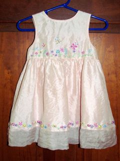 Girls 12 M LYDIA JANE Pink SILK Embroidered Dress Flowers Butterflies