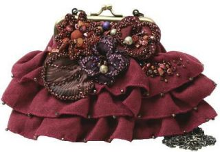 Mary Frances Bordeaux Bloom Red Mini Flower Bag Purse Handbag New