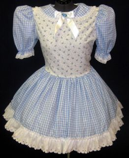 Cute Blue Gingham Adult Baby Sissy LG Dress Leanne