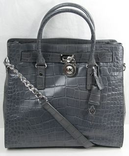 Michael Kors Hamilton Large Slate N S Tote Leather Purse Shoulder bag
