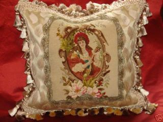 Charming Antique Needlepoint Victorian Portrait Pillow