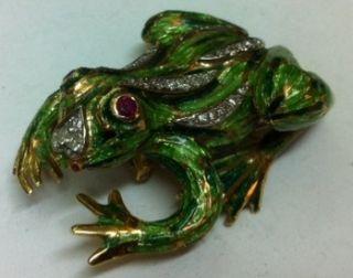 Corletto Italy 18K Yellow Gold Diamond Enamel Frog Pin Brooch Diamonds