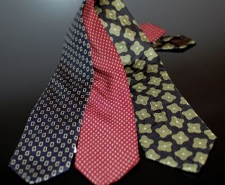 Vintage Archival Giorgio Armani Silk Ties Black Blue Red Macclesfield