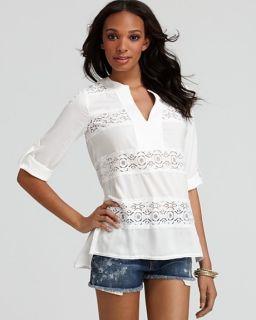 New BCBG Lucey White Lace Striped Tunic Top XS $168 JUF1M374