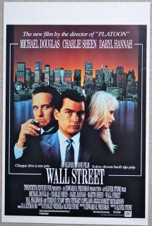 Wall Street Oliver Stone Michael Douglas VINTAGE ORIGINAL Belgian