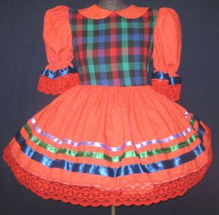 Red Plaid Adult Baby Sissy LG Dress Leanne