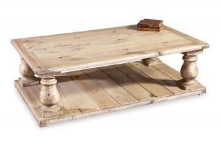 Ludlum Neoclassical Rustic Light Pine Wood Coffee Table