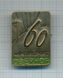 Rare Oberhof Commemorative Pin Badge DDR Bobsled and Luge Venue 1960s