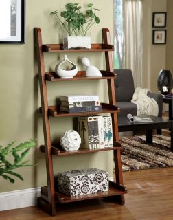 Lugo Antique Oak Solid Wood Ladder 5 Shelf Stand, Bookcase, Storage