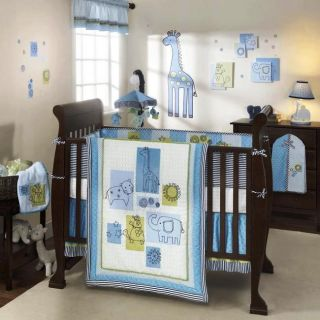 4pc LAMB IVY Zootopia CRIB SET Baby Animals Elephant Baby Boy Blue and