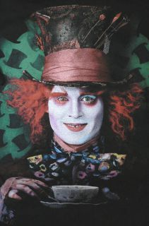 Mad Hatter Mens Large Black T Shirt Johnny Depp Alice in Wonderland