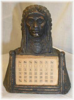 Antq Mackinaw City Michigan Metal Indian Chief Calendar
