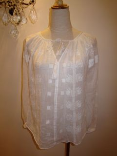 BNWT ETOILE ISABEL MARANT S S2012 BUNY EMBROIDERED COTTON GAUZE TOP Sz