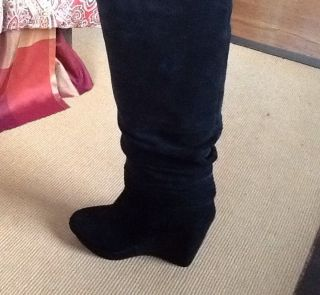 Madison Harding Black Suede Wedge Boot Size 7