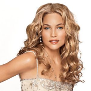 New Stylish Long Blonde Curl Womens Human Made Hair Wigs