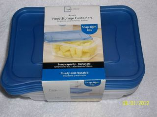 PACK OF MAINSTAYS FOOD STORAGE CONTAINERS 5 CUP RECTANGLE (2 sets