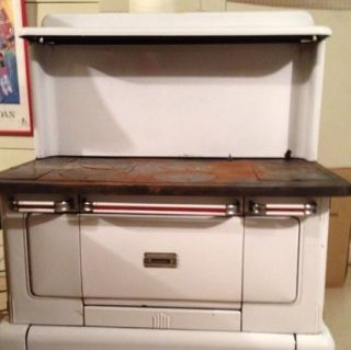Antique Eureka Wood Burning Stove White Porcelain