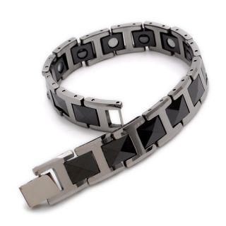 Black Silver Tungsten Magnetic Hematite Mens Bracelet 8 B386