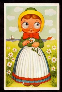 Kobenhavn Glass Eyes Maiden Cartoon Denmark Novelty Postcard