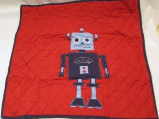 Pottery Barn Kids Robot Full Queen Quilt 2 Euro Shams New