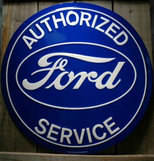 METAL LARGE 24 ROUND AUTHORIZED FORD SERVICE TIN SIGN GARAGE CAR SIGNS