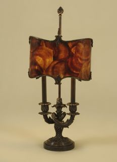 Maitland Smith Dark Bronze Finished Brass Candelabra Lamp, Penshell