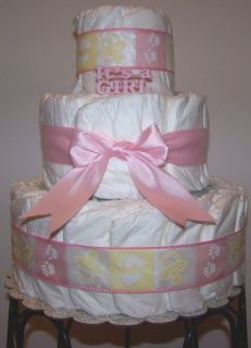 Baby Girl 3 Tier Diaper Cake Baby Shower