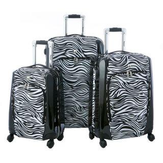 Olympia Mankato Hybrid 3 Piece Luggage Set Zebra Black