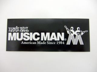 ERNIE BALL MUSICMAN GUITAR CASE RACK DECAL STICKER NEW WHITE ON BLACK