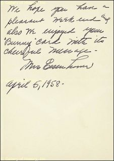 Mamie Eisenhower Autograph Letter Signed 04 05 1958