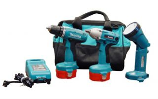 Makita Cordless Tool Kit New Drill Impact Wrench Light 2 Batteries