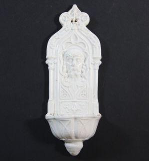 ANTIQUE HOLY WATER FONT, STOUP, PORCELAIN,SARREGUEMINES ,JESUS,ca 1880