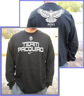 Team Manny Pacquiao Long Sleeves Black T Shirt s 2XL